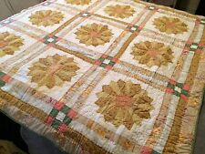 Patchwork Quilt Reversible Sunflowers Big Size Cotton VTG Granny USA LOVELY RARE