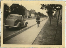 PHOTO ANCIENNE - VINTAGE SNAPSHOT -VOITURE DÉCAPOTABLE VÉLO-CAR CONVERTIBLE BIKE
