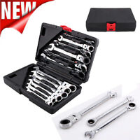 12pc Ratchet Spanner Set Socket Pivoting Metric Flexible/Fixed Wrench Hand Tool