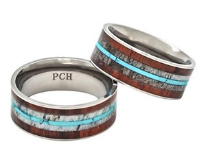 Deer Antler Ring Turquoise Koa Wood 9mm Titanium Comfort Fit Wedding Band 7-15