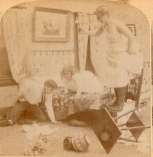 """1896 Risque Women in Nightgowns, """"That Pesky Rat Again"""".    Stereoview Photo"""