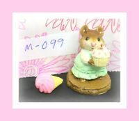 ❤️Wee Forest Folk M-099 Birthday Girl Mouse Green Dress Cupcake 1983 Figure❤️