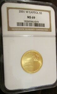 2001 W U. S. Mint Capitol Visitor Center Gold $5. five dollar NGC MS69 cost