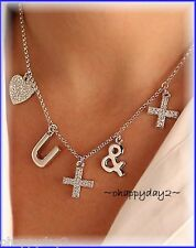 signed Swarovski~ LOVE You More ~ Pave Necklace ~Heart ~ w/ 5 charms ~New ~$100
