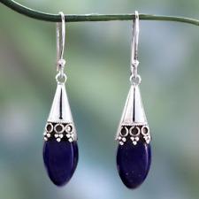 Fashion 925 Silver Antique Blue Sand Stone Drop Dangle Hook Earrings Lot Jewelry