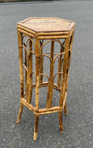 Vintage Rattan Tortoise shell Bamboo Plant Stand Side table