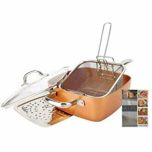 """5 Piece Copper Coated Induction Base Square Pan Set, Casserole 9.5"""" - Glass Lid"""