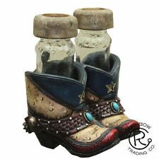 Texas Western Red & Blue Boot Salt & Pepper Shakers Western Rustic Decor