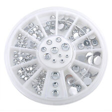 6cm NAIL ART GEMS JEWELS DESIGN CRAFT NAILS WHEEL ROUND MIXED SIZE SILVER