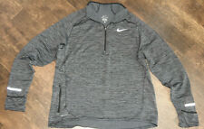 NIKE DRI-FIT lightweight waffle knit gray active top 1/4 Zip slim Large