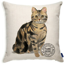More details for personalised tabby cushion cover cat pillow portrait kitten watercolour kcc29