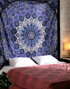 Mandala Tapestry Blue Round Print Wall Hanging Home Decor Queen Size-Bedspread
