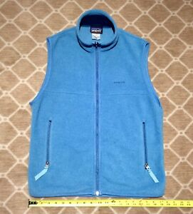 Patagonia (Men's-Medium) Synchilla Fleece Zip Up Activewear Vest Sky Blue CLEAN