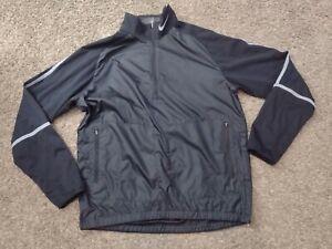 Nike Golf Mens Jacket Medium Black 1/4 Zip Pullover Windbreaker Stripe Active B7