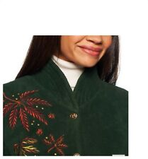 New Bob Mackie's Embroidered Fleece Jacket with Quilted Collar TEAL SZ 1X $65