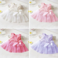 Baby Girl Lace Bowknot White Pink Christening Shower Party Tulle Dresses Clothes