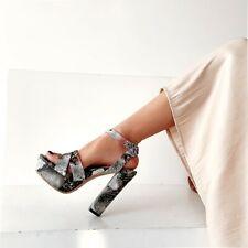 Ladies Summer Platform Sandals Snake Print Buckle Block High Heels Size 34-46