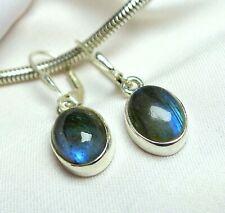 Labradorit Ohrhänger 925 Silber Klappbrisur dunkle, Blau schimmernde Steine NEU
