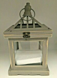 Living Colors Grey Wooden Lantern Flameless (LED) Candle Only Indoor Only