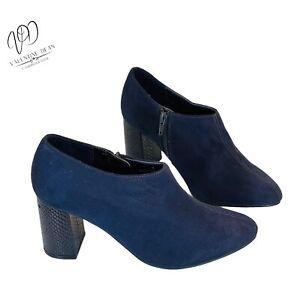 Marks & Spencer Women's Ankle Boots Navy Suede Block Croc Heel Size 4 Uk
