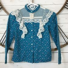 Vintage Mother of Pearl Button Blouse Floral Lace Girls size 10