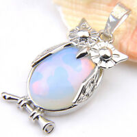 New Arrival Owl Design Rainbow Moonstone Gems Vintage Silver Necklace Pendants
