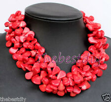 bib Red Coral necklace Statement Necklace Chain Collar Choker wedding
