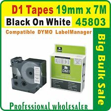Dymo D1 19mm x 7m Black on White 45803 Compatible Label Tape