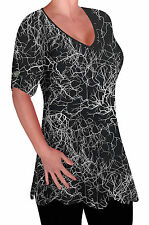 Ladies  Print V Neck Blouse Tunic Womens Swing Flared T-Shirt Top