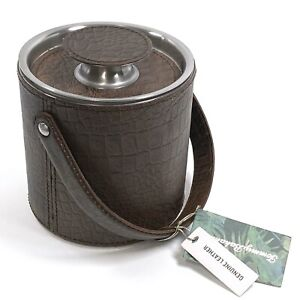 Tommy Bahama • New Genuine Leather and Stainless Steel Ice Bucket