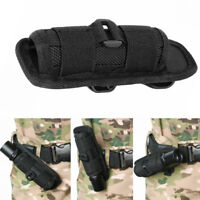 Rotation Nylon LED Flashlight Torch Holster Holder Belt Case Bag Pouch Black