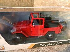 1:24 MOTOR MAX *RED* Topless Toyota FJ40 Land Cruiser *DIECAST* NIB!