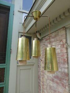 1960's Mid-Century Modern Three Cone Brass Hanging Pendant Swag Lamp