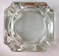 "Vintage Square Clear Glass Ashtray 3.75"" X 1.25"" Retro MCM"