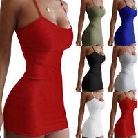 KQ_ AU_ Night Club Summer Solid Color Women Spaghetti Strap Bodycon Mini Dress D
