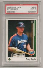 CRAIG BIGGIO - GRADED 1989 UPPER DECK ROOKIE BASEBALL CARD - PSA MINT 9!  HOF!