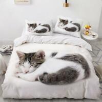 3D White Gray Sleeping Cat KEP6414 Bed Pillowcases Quilt Duvet Cover Kay
