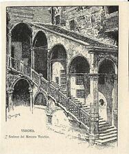 Stampa antica VERONA Scalone del PALAZZO della RAGIONE 1892 Old antique print