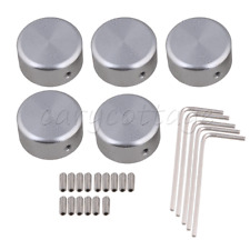 Silver Aluminum Alloy Guitar Effects Pedal Knobs with Screws Wrench Replace 5P
