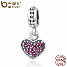 Bamoer u Authentic S925 Sterling Silver Heart Charm with Red CZ fit bracelet