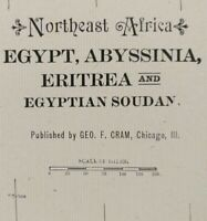 "NORTHEAST AFRICA 1903 Vintage Atlas Map 14""x22"" ~ Old Antique EGYPT ABYSSINIA"