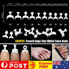 500Pcs Fake French Nail Tips White Edge Stiletto False Gel Pointy Art Acrylic