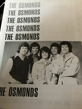The Osmonds 1970's Concert Program Book 8 page fold out Donny Osmond