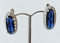 925 STERLING SILVER CHUNKY  BLUE SAPPHIRE AND CUBIC ZIRCONIA HOOK EARRINGS