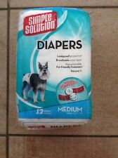 Simple Solution Dog Doggy Diapers 12 Pack medium waist 16.5- 21""