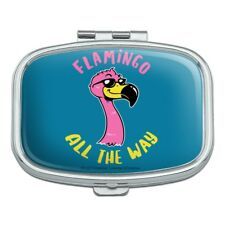 Flamingo All the Way Funny Humor Rectangle Pill Case Trinket Gift Box