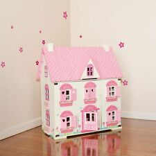 Pink Flower Wooden Doll House Set with Furniture
