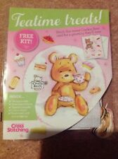 Cookie Bear Teatime Treats Mothers Day Valentines Cross Stitch Card Kit