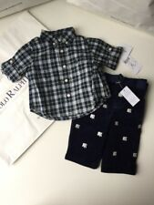 BNWT Polo Ralph Lauren Boys Designer Trouser Shirt Set 3M 0-3MTHS RRP £89.00
