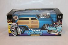 ORIGINAL MUSCLE MACHINES '50 FORD WOODY BLUE & WOOD GRAIN  1:18 SCALE DIECAST